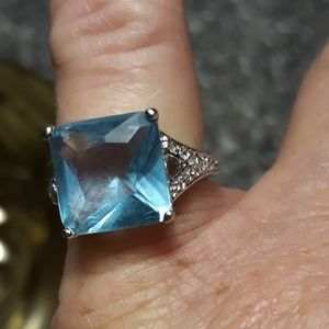 Sterling Square Cut Blue Stone Ring